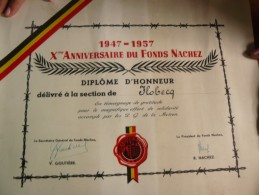 FLOBECQ DIPLOMA D'HONNEUR 1947 1957 - Non Classificati