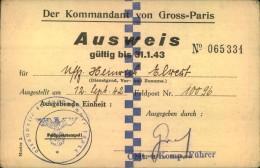1942, Passport For Greater-Paris Issued By DEUTSCHE WEHRMACHT - Frankreich
