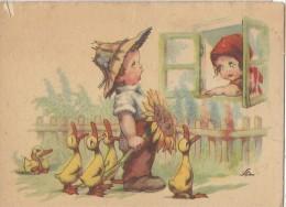 Carte Humoristique/ Jeune Paysan Avec Fleur Et Fermiére/Canards // Vers 1940-50 ?     CPH21 - Humour