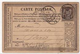 !!! CARTE PRECURSEUR TYPE SAGE CACHET DE ST LEONARD (HAUTE VIENNE) 1877 - Entiers Postaux