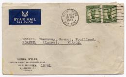 Australie--1953--Lettre De MELBOURNE Pour ROANNE-42-France -Paire Horizontale De Timbres Lyre 1 Sh+ Beau Cachet - 1952-65 Elizabeth II : Pre-Decimals