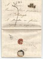 Lettre De METZ  55 Noir L.F.R.I. Pour Marche Cachet FRANKRYK / LUXEMBURG . Luxembourg. Du 23 Mai 1822 - 1815-1830 (Dutch Period)