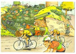 Carte Postale 1988 Militaire Humoristique Tank Et Vélos - Humor
