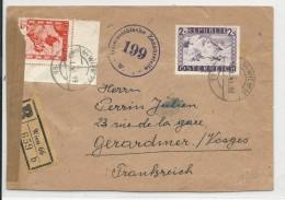 AUTRICHE - 1948 - ENVELOPPE RECOMMANDEE CENSUREE De WIEN Pour GERARDMER (VOSGES) - 1945-60 Brieven