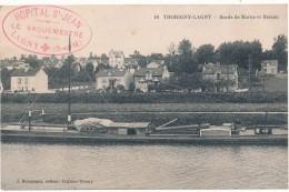 THORIGNY LAGNY - Bateau, Bords De Marne - Cachet Militaire Hôpital St Jean - Lagny Sur Marne