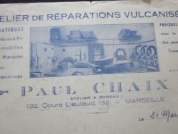1949 P. CHAIX FACTURE DOCUMENT COMMERCIAL Illustré MARSEILLE ATELIER REPARATION VULCANISATION PNEUMATIQUE  AUTOMOBILE - France