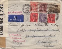 Letter Censored, Of Paris, Stamps Of Egypt Ind England Alexandria Egypt Russel & Co (Bande Avec Virgule) - 1902-1951 (Kings)