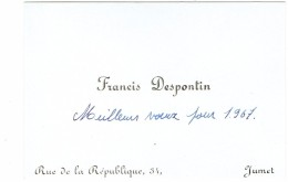 Ancienne Carte De Visite De Francis Despontin, Rue De La République, Jumet, (Belgique) 1967 - Cartes De Visite