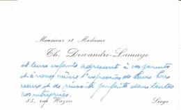 Ancienne Carte De Visite De M. Et Mme Th Dewandre-Lamaye, Rue Wazon, Liège, Vers 1967 - Cartes De Visite