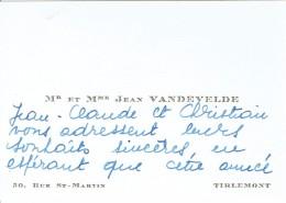 Ancienne Carte De Visite De M. Et Mme Jean Vandevelde, Rue St-Martin Tirlemont Tienen 1965 - Cartes De Visite