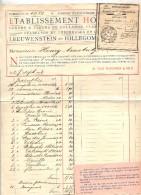 Facture Etablissement Horticole Leeuwenstein  Hillecom + Recepisse Paiement  Cachet Audincourt - Pays-Bas
