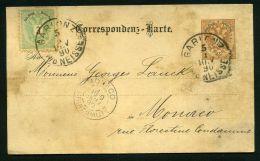 OBLITERATION DE GARIONZ ? POUR MONACO DU 5 JANVIER 1890 , C A D  D'ARRIVEE  MONACO  DU  9 JANVIER 1890 , A VOIR - Lettres & Documents