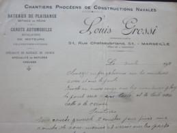 1920 L. GROSSI FACTURE DOCUMENT COMMERCIAL Illustré MARSEILLE CHATEAUBRIAND CHANTIER CONSTRUCTION NAVALES CANOT AUTOMOBI - France