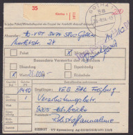 "DDR Gotha Paketkarte Wert 25 TM, Porto 14,10 Barfrankatur ""Taxe Parcue"" Nach Halsbrücke, Postinterna 1984 - [6] Democratic Republic"