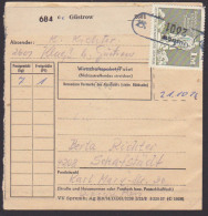 DDR Güstrow PSSt. (18) Klueß Paketkarte Postinterna, Inlandspaket, 1 M Sowjetisches Ehrenmal Berlin Treptow - [6] Oost-Duitsland