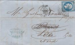 LETTRE Du 14 SEPT 1862   - De LYON  à LILLE  -  Losange Petits Chiffres - Marcophilie (Lettres)