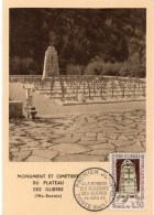 1963 - CM - HAUTS LIEUX DE LA RESISTANCE - Monument Et Cimetière Du Plateau Des Glières - Haute Savoie (n°1380) - Cartes-Maximum