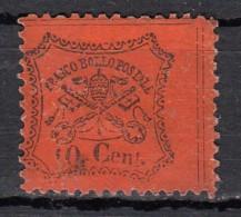 Etats Pontificaux  Dentelé  10c  Rouge Orange  YT N°22 - Etats Pontificaux