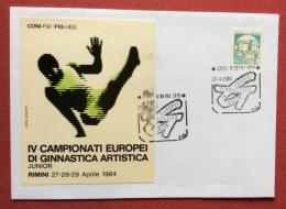 RIMINI 1984 IV CAMPIONATI EUROPEI DI GINNASTICA ARTISTICA - BUSTA CON ADESIVO ED ANNULLO SPECIALE - Gymnastik