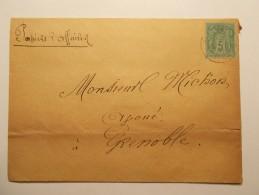 Marcophilie - Lettre Enveloppe Cachet Oblitération Timbres - FRANCE - Type Sage 5c Vert (337) - Marcophilie (Lettres)