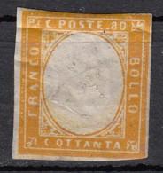 Sardaigne  Victor Emmanuel II  80c Orange  YT N°14 - Sardaigne