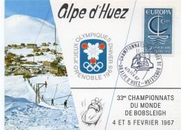 1967 - ALPE D'HUEZ - CHAMPIONNAT DU MONDE DE BOBSLEIGH Février 1967 - Tp N°1490 - 1960-69