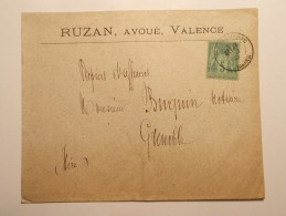 Marcophilie - Lettre Enveloppe Cachet Oblitération Timbres - FRANCE - VALENCE Type Sage 5c Vert - 1884 (346) - Marcophilie (Lettres)