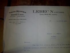 Vieux Papier Facture  A Entete   Lebec Narcisse Tissage Mecanique A Cauroir Nord Annee 1937 - Textile & Vestimentaire