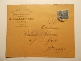 Marcophilie - Lettre Enveloppe Cachet Oblitération Timbres - FRANCE - VALENCE 1888 - Grains Farines Et Graines (350) - Marcophilie (Lettres)