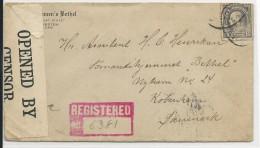 USA - 1918 - ENVELOPPE RECOMMANDEE Avec CENSURE De GALVESTON (TEXAS) Pour COPENHAGUE (DANMARK) - Marcophilie