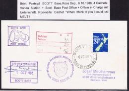 ANTARCTIC,ROSS, Scott Base, 6.10.1986, 3 + 1 Cachets  + Signed, Look Scan !! 21.4.-17 - Spedizioni Antartiche