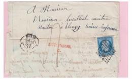"""FRANCE -- 1859-- LETTRE DE PARIS BUREAU C POUR BLANGY -- """"AFFR. INSUFF./ C"""". EN ROUGE --- - Poststempel (Briefe)"""