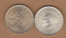AC - TURKEY: 2500 LIRA TL 1992 COPPER - NICKEL COIN UNCIRCULATED - Turkey