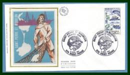 FDC Silk Soie Saint Pierre & Miquelon 1982 N° 2193 Carte Bateau Pêche Poisson Boat Fish - FDC