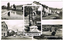 RB 1089 - Real Photo Multiview Postcard - Newtown Montgomeryshire Wales - High & Broad St. - Montgomeryshire