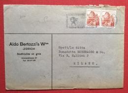 SVIZZERA ZURIGO 1949 FESTA DI TIRO A SEGNO ANNULLO SPECIALE A TARGHETTA SU BUSTA PER MILANO - Tiro (armi)