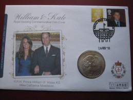 Alderney 2010 Official Royal Engagement William & Kate Middleton UNC £5 Five Pounds Coin First Day Cover - Regional Coins