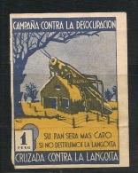 ARGENTINA - VIGNETTES - CINDERELLAS - VIÑETAS - Rara !! CAMPAÑA CONTRA LA DESOCUPACION Y CONTRA LA LANGOSTA - Franking Labels