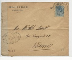 ESPAGNE - 1914/18 - ENVELOPPE Avec CENSURE FRANCAISE De VALENCIA Pour NIMES (GARD) - 1889-1931 Kingdom: Alphonse XIII