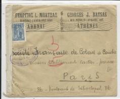 GRECE - 1915 - ENVELOPPE Avec CENSURE FRANCAISE De ATHENES Pour PARIS - Grecia