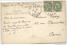 """Cachet Perlé """"RADON ORNE 1910""""blanc Frappe Superbe Cp Alencon Pour Paris - Marcophilie (Lettres)"""
