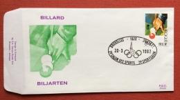 SPORT BILIARDO BRUXELLES 1982 2 SALONE DELLO SPORT EMISSIONE ED ANNULLO SPèECIALE SU BUSTA