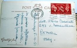 GRAN BRETAGNA 1951 , FESTIVAL OF BRITAIN 2 1/2 D, SU CARTOLINA  VIAGGIATA - 1902-1951 (Rois)