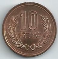 Japan  10  Yen  Akihito  Y#97.2   Yr. 26 (2015) - Giappone