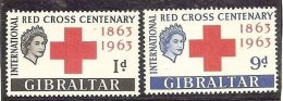 1963 Gibilterra Gibraltar CROCE ROSSA  RED CROSS Serie Di 2v. MNH** B - Gibraltar