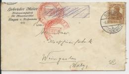 """ALLEMAGNE - 1916 - ENVELOPPE De SINGEN Avec CENSURE De KONSTANZ Pour WEINGARTEN Avec RETOUR ANNULE """"ZURÜCK"""" BARRE - Germania"""