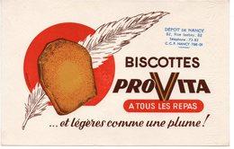 Buvard  Provita, Biscottes à Tous Les Repas. + Cachet Dépôt De Nancy, Rue Isabey - Biscottes