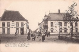 SCHERPENHEUVEL ZICHEM - 1907 - ANCIENNE PORTE DE MONTAIGU - HOTEL CAFÉ ANIMATIE - 2 SCANS - Scherpenheuvel-Zichem