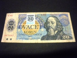 SLOVAQUIE 20 Korun 1988,stamp, Surcharge Sur 20 Korun Tcheque,pick N°15 ,SLOVAKIA SLOVENKA - Slovaquie