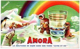 Buvard  Moutarde Amora. Esquimau, Ours, Morse, Banquise, Traineau, Arc En Ciel. - Moutardes